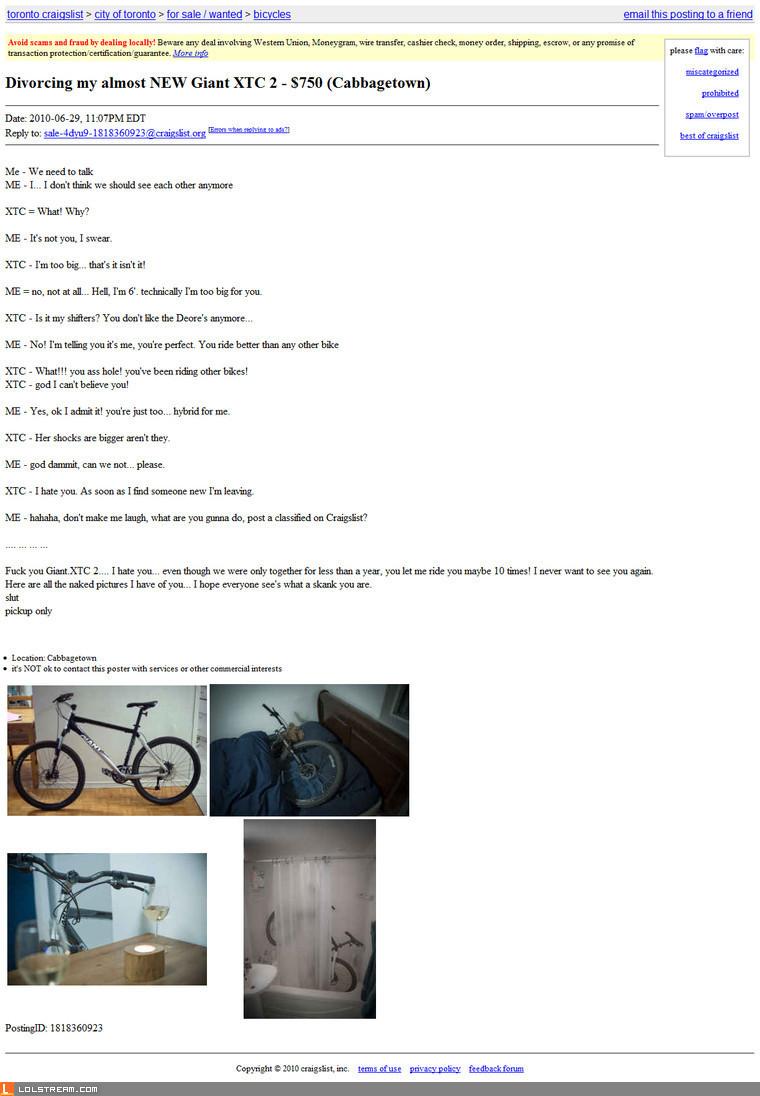 Divorcing a bike