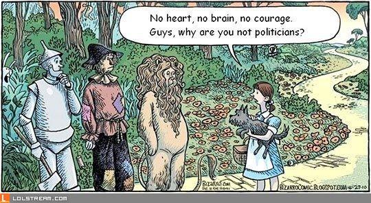 No heart, no brain, no courage...