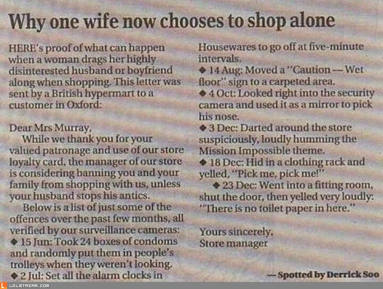 Why You Shouldn't Bring Your Husband Shopping