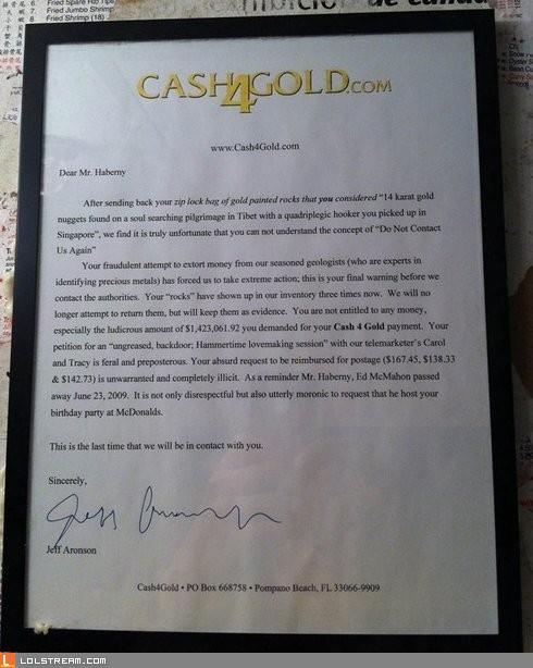 Cash 4 Gold Letter