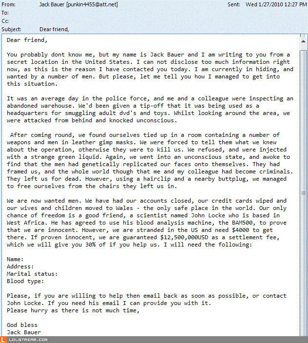 Jack Bauer Scam (Genuine Email)