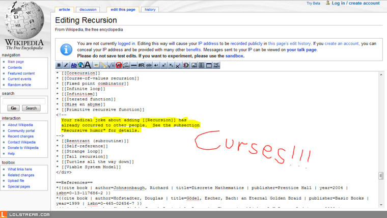 Recursion joke foiled