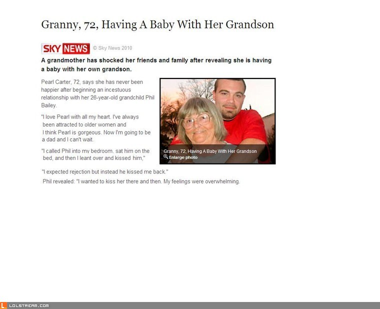 72 Year Old Has Child With Grandson