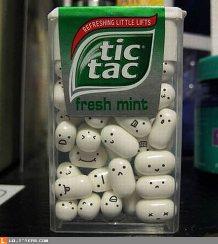 Tic Tacs with faces