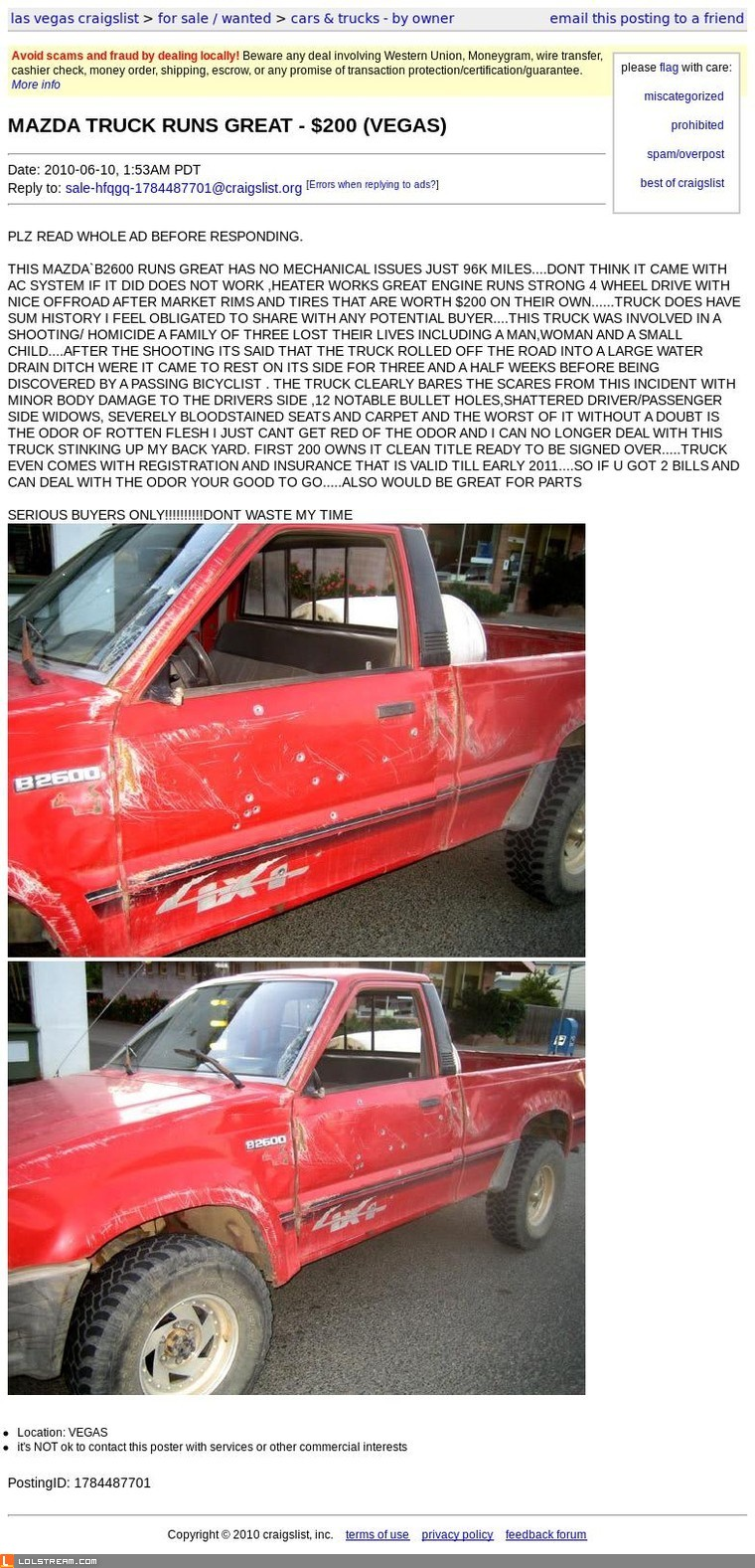 Mazda truck for sale - runs great, one small issue...